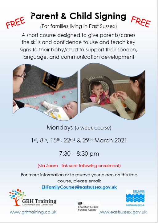 Parent and Child Signing – Evening Course