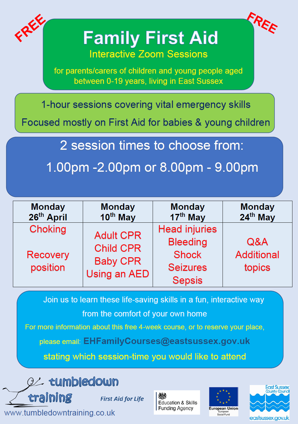 Tumbledown Training – Family First Aid