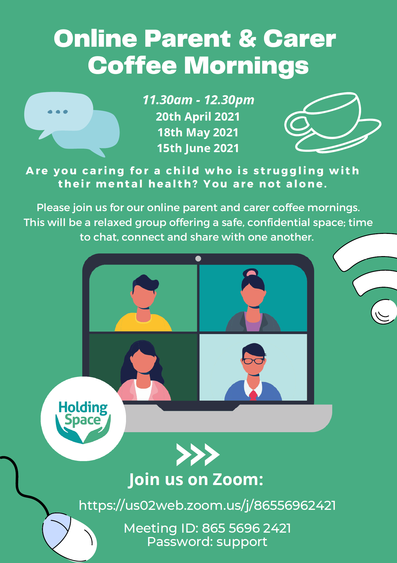 Holding Space – Online Parents and Carer Coffee Mornings